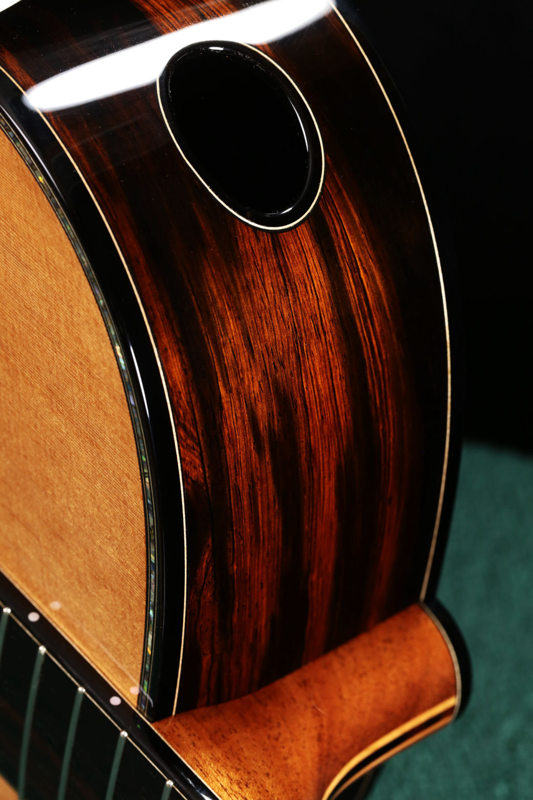 Oval Sound Port bound in Ebony with Maple Purfling Line