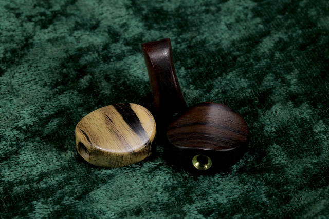 Ebony and Rosewood custom wood buttons for Hatcher Guitars