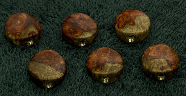 Two Tone Ambyna Burl custom tuner buttons
