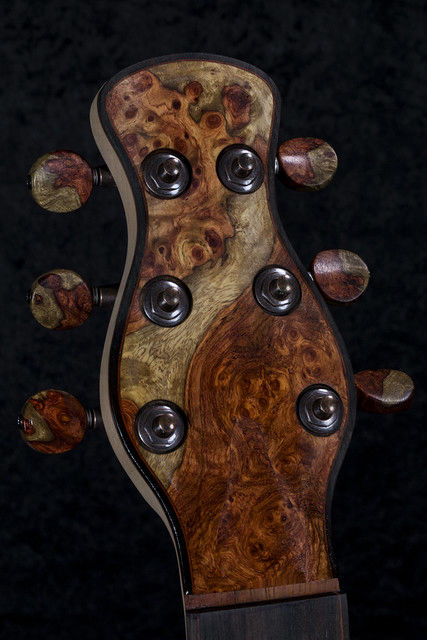 Two Tone Amboyna Burl Buttons and Headstock