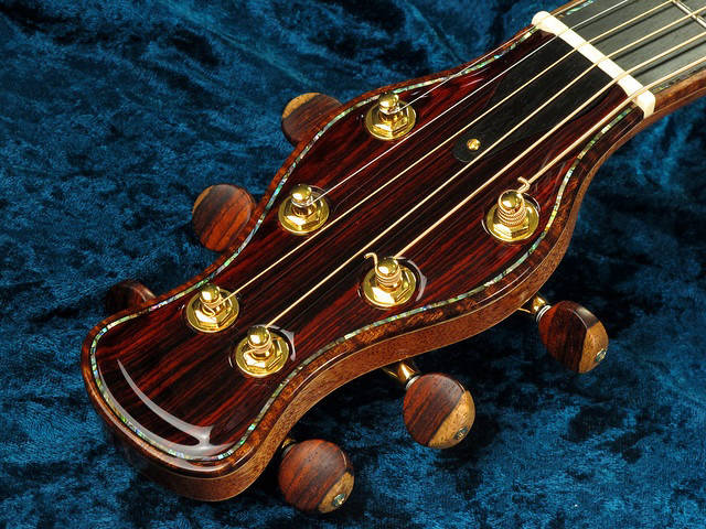 Sapwood Cocobolo custom tuner buttons on Hatcher Guitar